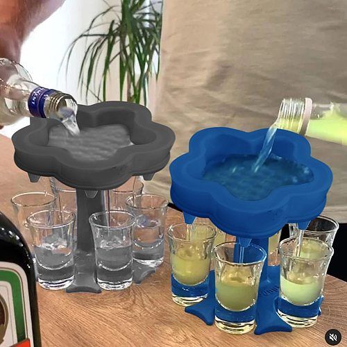 6 Shot Glasses Dispenser Holders for Wine Beer Liquor Beverage Subpackage Rack Party Beverage Drinking Games Bar Filling Tool