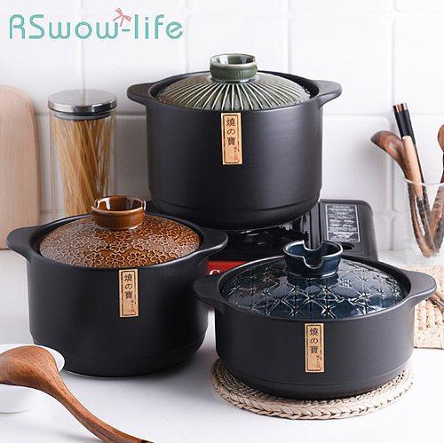 Creative Binaural Ceramic Pot High Temperature Resistant Gas Stove Soup Pot Stone Pot For Kitchen Supplies Casserole