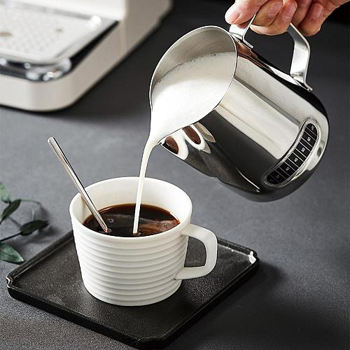 600ml Stainless Steel Frothing Coffee Pitcher Pull Flower Cup Espresso Cups Latte Art Milk Frothing Jug With Thermometer Sticker