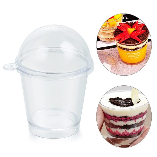 10pcs/set Popcorn Cup Ice Cream Cups DIY Cake Decorating Miniature Frappuccino Cup With Cover Lid Home & Kitchen Pastry Tools
