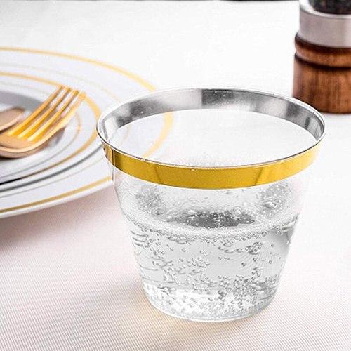 Plastic Cup Transparent Cup Disposable 25pcs Plastic Rose Gold Rimmed Champagne Flutes Clear Hard Disposable Party Wedding decor