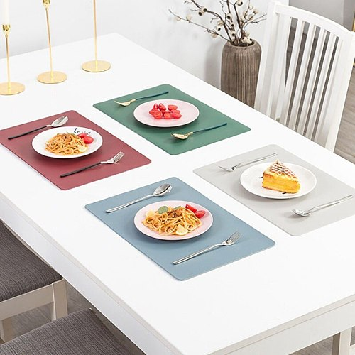 PVC Table Mat Washable Placemats for Dining Table Mat Non-slip Placemat Set in Kitchen Accessories Cup Coaster Wine Pads