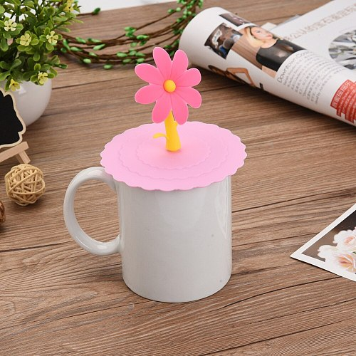 NEW Cute Sunflowers Shaped Fashionable Creative Food-grade Silicone Cup Cover Heat-resistant Safe Healthy Silicone Lids 5 Colors