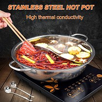 HOT Hot Pot Stainless Steel Twin Divided 2 Handle Cooking Pot Cooking Supplies NDS66