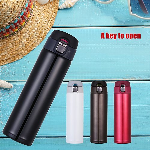 Portable Stainless Steel Double Wall Thermal Cup Travel Mug Water Thermos Bottle Vacuum Cup School Home Tea Coffee Drink Bottle