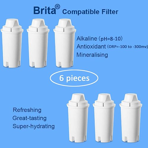 Pack 6pcs Alkaline Mineral Replacement Water Filter Cartridge For Brita Classic Style Drop In Style Pitcher