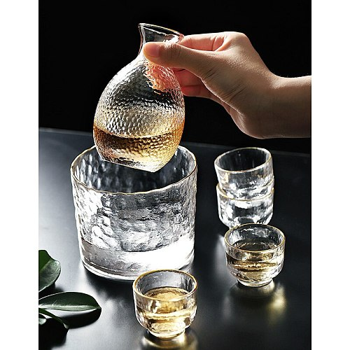 Glass Wine Cup Japanese Lead-free Glass Crystal Cup Shot Glass Cup High Spirits White Wine Glasses Sake Pot Suit
