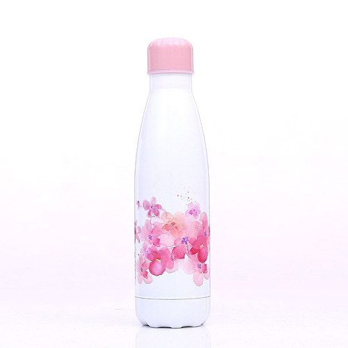 Stainless Steel Vacuum Insulated Water Bottle Flask Thermal Sports Chilly 500ML Double Wall Direct Drinking Eco-Friendly Flowers