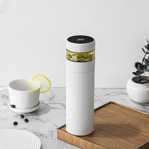 Double Wall Stainless Steel Thermos with Tea Filter Leak-proof Water Bottle LCD Temperature Display Smart Vacuum Flask 400ml