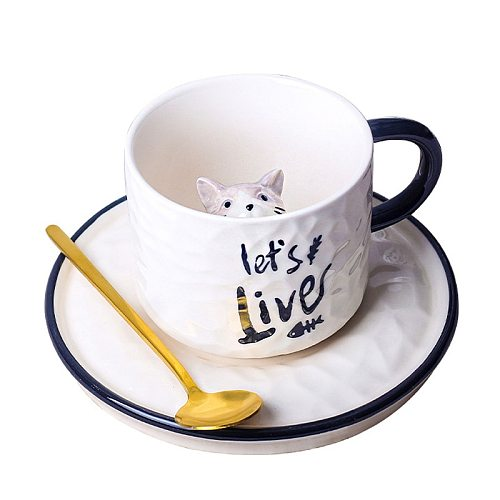 280ml cute cat ceramic mugs 3D creative coffee mug funny coffee cup with saucer Korean style cat milk cup Spoon Included