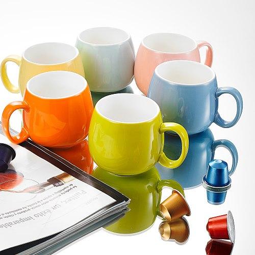 Panbado 6-Piece 6-Colors 375ML Porcelain Coffee Mug Set with Handle Ceramic Coffee Tea Milk Water Cup Set Drinkware Gift