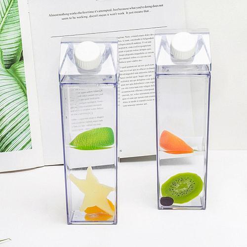 500mL Water-Bottle Drinkware Shaker Sports Square Milk Water Bottle Bpa Free Waterbottle Transparent Reusable Water Jug Bottles
