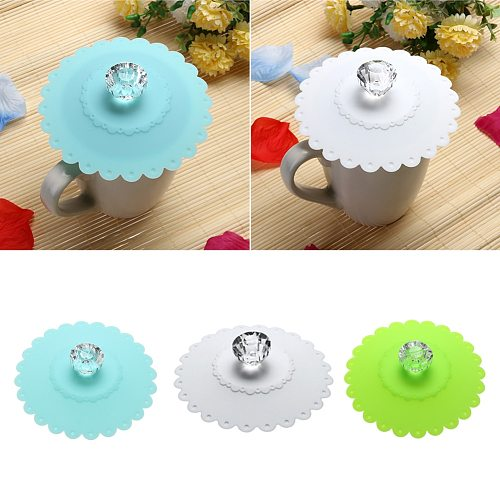 Lace Silicone Transparent Diamond Cup Lid Thermal Insulation Flower Pattern Cup Cover Dust-Proof Mug Cover Bright Color Drink