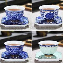 Blue and White Flower Tea Cup With Saucer Porcelain Tea Bowl Jingdezhen Ceramic Kung Fu Teacup Coffee Beer Wine Mug