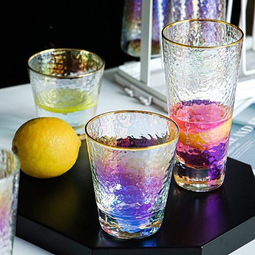 CUP WINE Glass Rainbow Green Tea Cup Creative Colorful Phnom Penh Hammered Cup Cold Drink Cup Symphony Cup Water Cup Glass Cup