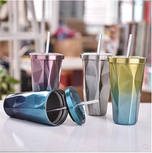 Sainless Steel Water Cup Diamond Gradient Color With Straw Cool Household Large Capacity Water Bottle Can customizable Logo