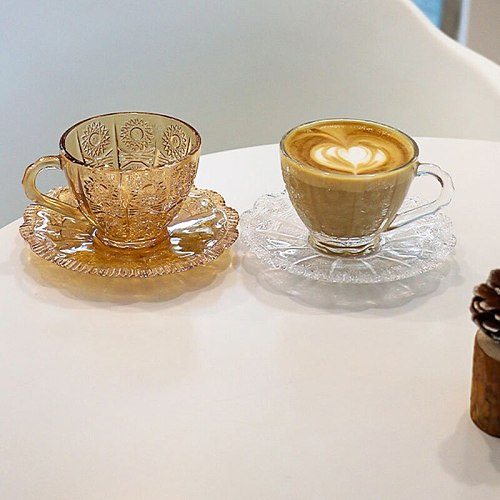 Glass Coffee Cup and Saucer Set Creative European Vintage Relief Sunflower Milk Cup for Breakfast Afternoon Tea
