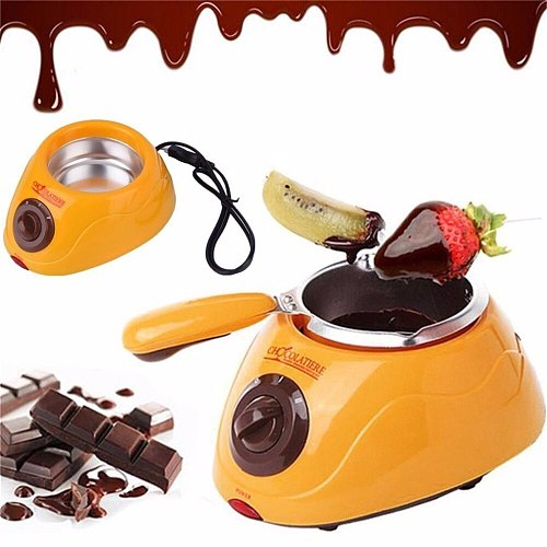 Durable Hot Chocolate Melting Pot Electric Fondue Melter Machine Set DIY Tool EU plug Stainless steel&Plastic DIY Kitchen Tool