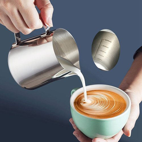Stainless Steel Coffee Pot Milk Jugs Pitcher Cup Frothing With Tick Mark For Make Milk  350ML/600Ml