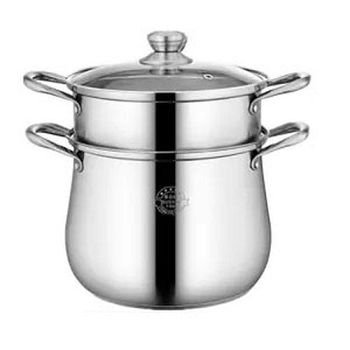 Soup Pot Thick 304 Stainless Steel Pot Large Capacity Double Bottom Noodle Pot Porridge Pot Cooker Universal High Soup Pot Hot