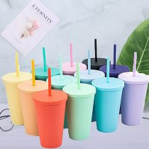 20pcs/Lot 16oz Plastic Cone Cup Coffee Tumbler With Lid Straw Insulated Double Wall Colored Drinking Bottle For Party Gift