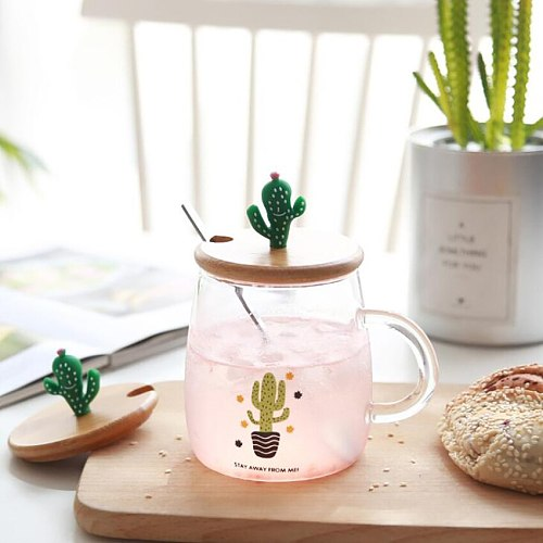 Cute Cactus Tea Mug with Wooden Lid and Spoon Borosilicate Glass Coffee Mug 450ml Clear Drinking Cup for Fruit Juice, Coffee Tea