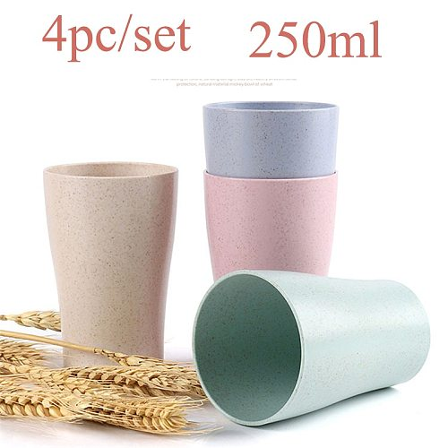 New 4Pcs Wheat Straw Water Cup Multi-Functional Coffee Glue Plastic Cup Drinking Glass Kids Cups Reusable Bright