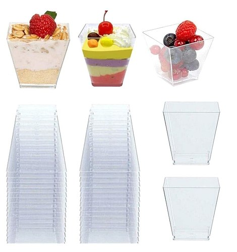 50pcs 60ml Disposable Plastic Cups Clear Transparent Trapezoidal Food Container for Jelly Yogurt Mousse Dessert Baking Tools