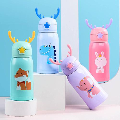 Kids Drop Resistant Water Bottle Stainless Steel Straw Mug Juice Vacuum Flask Children Portable Travel Thermal Water Bottle
