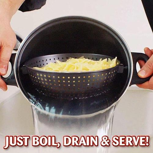 2-in-1 Cooking Pot with a Built in Strainer Food Stays Swivel Drain out Drains For Kitchen Pasta in Pot Water Vegetables Po J2O9
