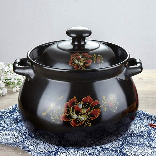 Health Soup Pot Household Stew Pot with High Temperature Resistance Ceramic Casserole Soup Pot with Lid