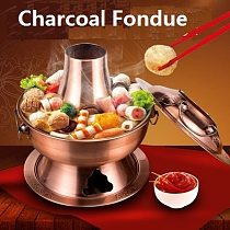 Thick Metal Steamer Pot Copper Stainless Hot Pot Meat Cooker Chinese Fondue Cookware Home Kitchen Cooking Tools Kitchenware