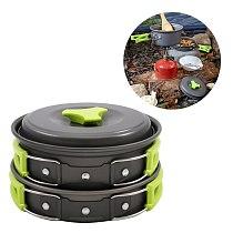 10 Pcs 1-2 Person Outdoor Cookware Set Camping Cooking Pot Pan Bowl Set Camping Mess Kit (Green Handle)