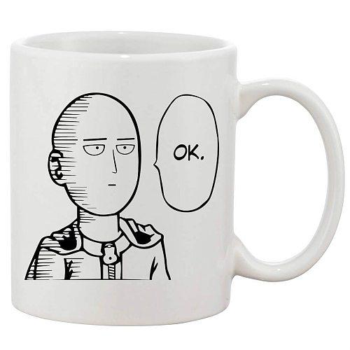 Saitama One Punch Man Ok Ceramic Coffee Mug White 11 Oz-in Mugs Gift Tea Milk Cup Mugs