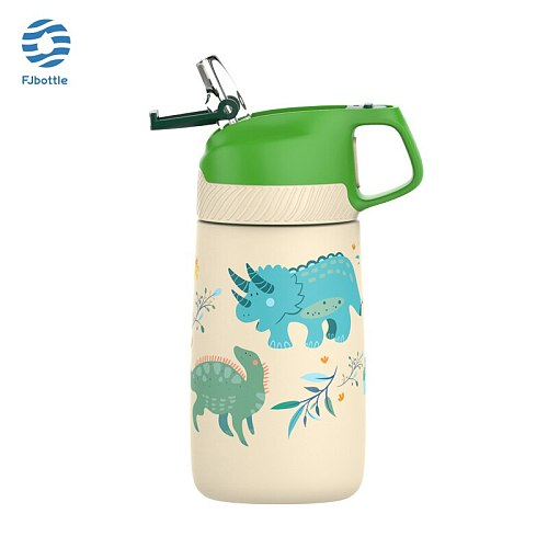 FJbottle Thermos Cup,Children's Straw Thermos Cup,Stainless Steel Vacuum Flask,Harmless Material,350ML,Keep Cold And Hot,No-BPA