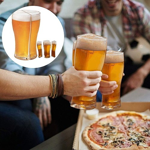 Creative Funny 4 in 1 Wine Glass Super Schooner Glass Separable 4 Parts Large Capacity Party Wheat Beer Glass Collins Glass