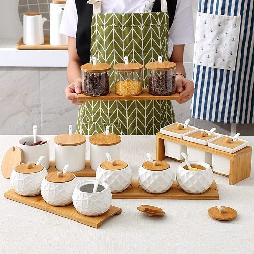 Ceramic Condiment Storage Jar Kitchen Seasoning Tank Household Seasoning Pot Bamboo Tray Spice Jar Soy Sauce Box Salt Sugar Can
