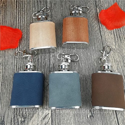 1oz stainless steel flask with PU and Wood warpped ,10 pcs/lot  logo can be engraved free