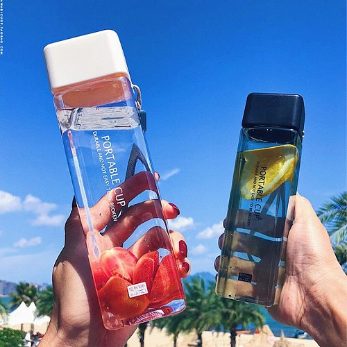 1Pc Transparent Square Plastic Matte Water Bottle Outdoor Cold Juice Water Sports Cup with Portable Milk Rope Water Mug 2021