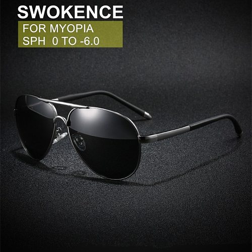 SWOKENCE Myopia Sunglasses SPH -0.5 -1 -1.5 -2 -2.5 -3 -3.5 -4 -4.5 -5 -5.5 -6 Men Women Nearsighted Glasses With Diopter F133