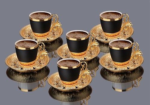 Turkish Golden Coffee Cups 12 Pcs Saucers Serving Set Ceramic Coffee Mugs Best For Home Decor Demistasse Porcelain Coffee Set