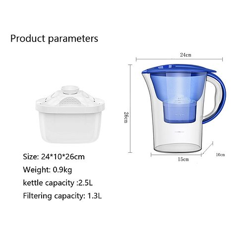 2.5L Clean Kettle Household Water Purifier Filter Kettle Kitchen Activated Carbon Filter Kettle Water Filter Jug  Xiao Mi Home