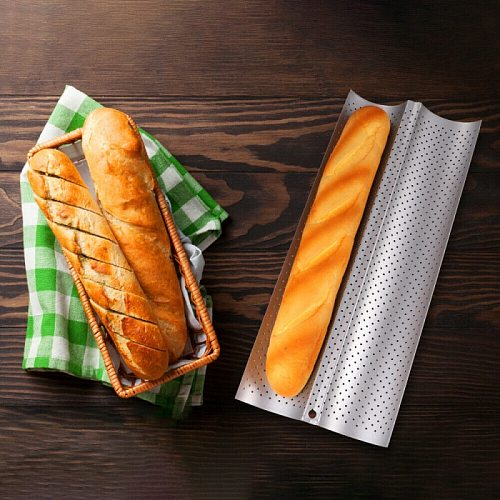 Practical Cake Baguette Mold Pans 2/4 Groove Waves Bread Baking Tools French Bread Baking Mold Bread Wave Tray Kitchen Cocina