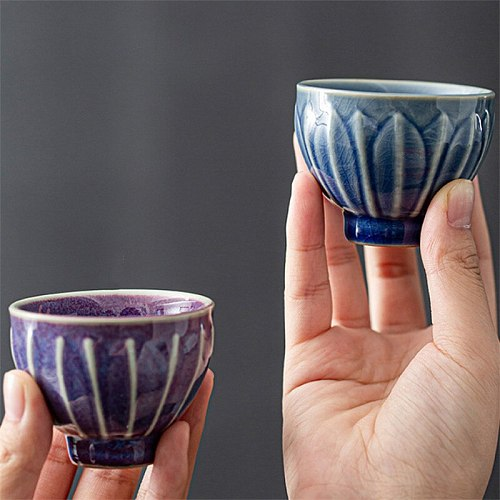 Japanese Ceramic Retro Ice Cracked Glaze Tea Cup Tea Set Office Kung Fu Water Cup Household Colorful Pottery Tea Cup Drinkware