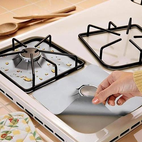 4pcs/set Gas Stove Protectors Cooker Cover Liner Clean Mat Pad Gas Stove Stovetop Protector for Kitchen Cookware Accessories