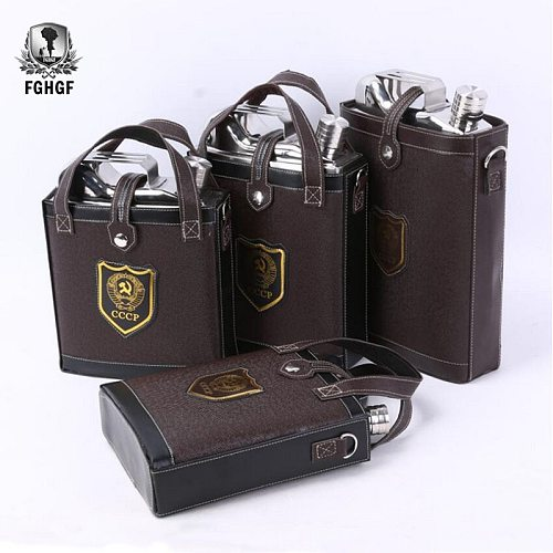 Large Capacity Stainless Steel 88 Oz 108oz 128 Oz Hip Flasks Classic Design Leather Bag Whiskey Wine Flask Convenient Men Flagon