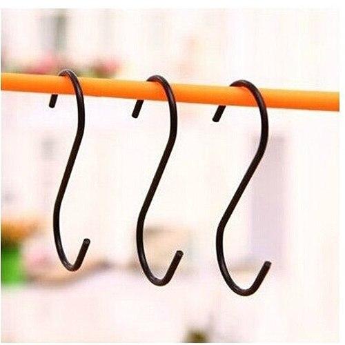 Hot 3pcs S Shape Hooks Stainless Steel Strong Bathroom Kitchen Clothing Towel Hanging S-hook Garden Plant Pot Hanger Rails Tool
