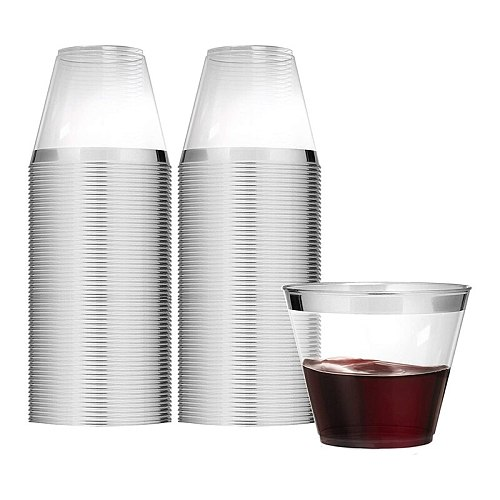 9 Ounce Clear Plastic Cups (100 Count) Disposable Party Cups,Old Fashioned Plastic Tumblers Wedding Cups, Silver Rimmed