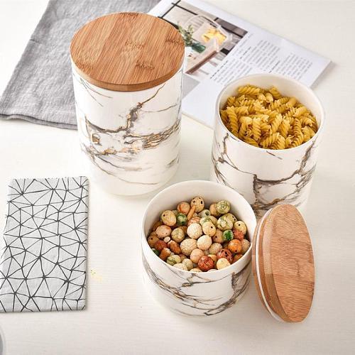 Ceramics Storage Jar Marble Grain Kitchen Ceramics Seal Pot Cereals Coffee Tea Seasoning Storage Tank With Cover Storage Jar