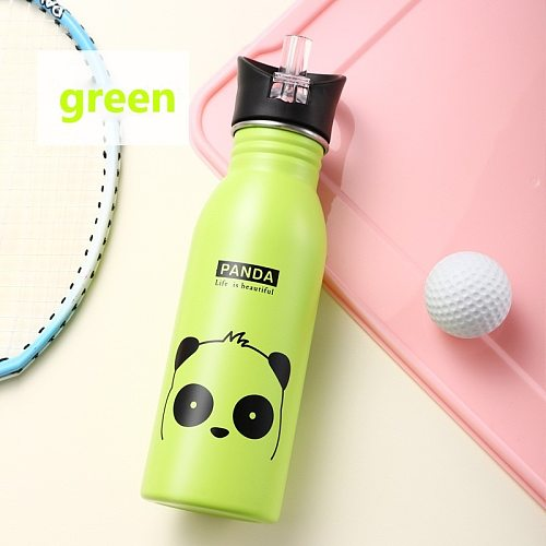 Cute Children Water Bottle Portable Outdoor Stainless Steel Water Bottles Cute Animal Pattern Cup Cold Drink Bottle with Straw